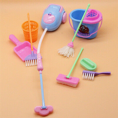 9 Pcs Home Cleaning Tool Mini Brush Mop Dollhouse Accessories Cleaning Room kits