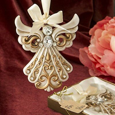 1 Antique Ivory Angel Ornament with a Matte Gold Filigree Detailing