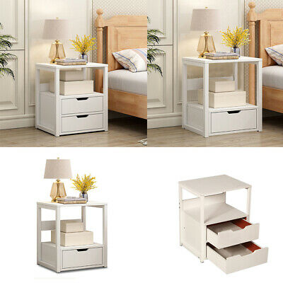 White Retro Bedside Chest Side Table Cabinet Units 2/3 Drawers Storage Furniture