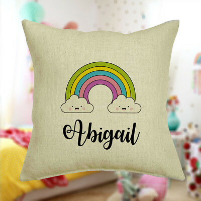Personalised Rainbow Cushion Cover Any Name Printed 40x40 Kids Bedroom