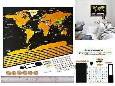 Scratchable World Travel Map Poster Detailed Maps Cartograph Posters Wall Art