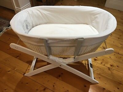 Moses Basket Bassinet & Stand - White
