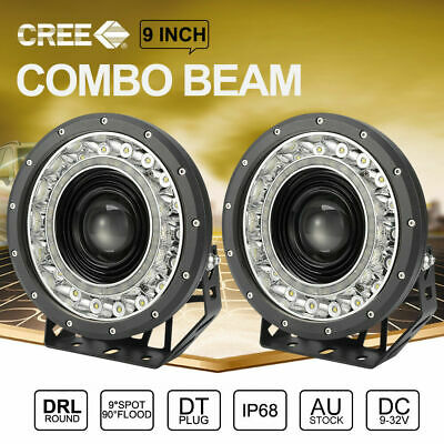 2x 9 inch CREE SPOT LED Driving Lights 4x4 Round Spotlights BLACK With DRL