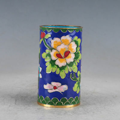 Chinese Cloisonne Hand-made Flowers Brush Pots