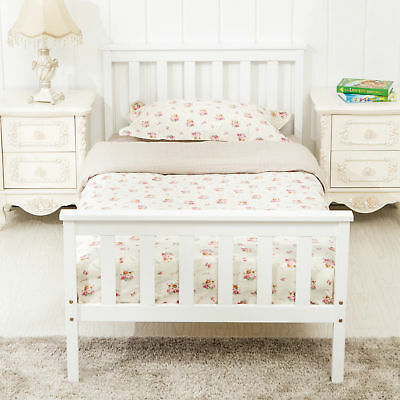 3FT Single Solid Wood Bed Frame Sturdy Slats for Adult Kids Bedroom White