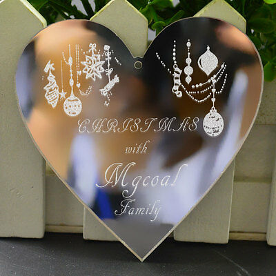 Personalised Heart Christmas Tree Decoration Gift Present Acrylic Souvenir