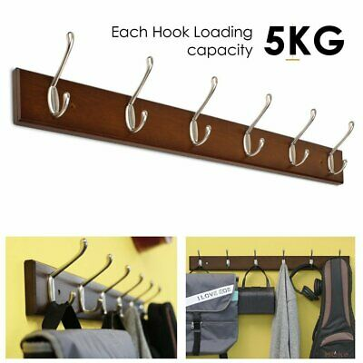 6 Hooks Wall Mounted Clothes Rack Hat Robe Bag Holder Storage Display Wood Shelf