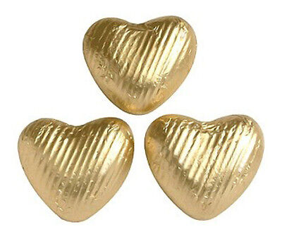 20x Milk Chocolate Hearts Gold Foiled, Gift wrapped, Wedding, Sweet, Favours