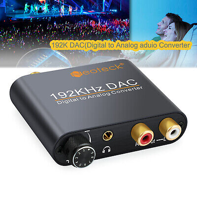192KHZ Digital Toslink Coaxial Optical to Analog Audio Converter Adapter RCA L/R