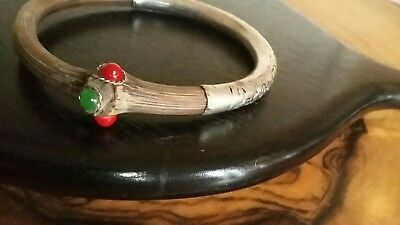 Extremely Rare 1920s Chinese Repousse Silver & Rattan Bamboo Betrothal Bangle
