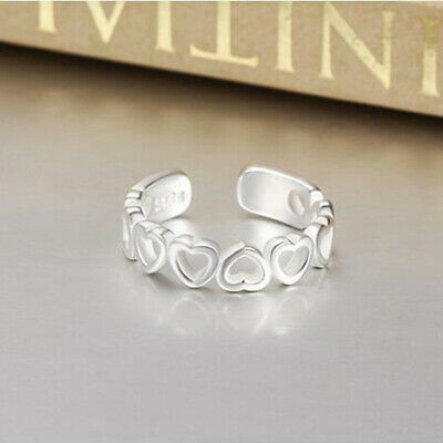 Shiny 925 Sterling Silver PL Join Hollow Heart Adjustable Open Toe Ring Gift UK