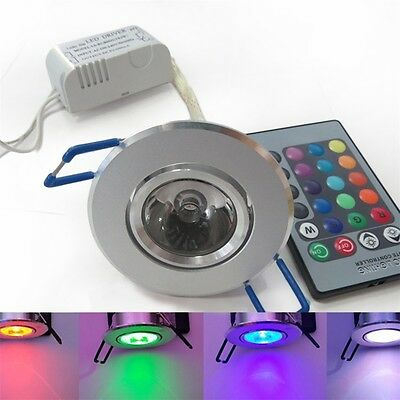 3W RGB LED Recessed Ceiling Light Spotlight Downlight Lamp + Remote Control AX