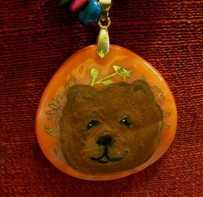 Chow Chow, red, hand painted on large Mother of Pearl pendant/bead/necklace