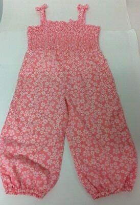 M&Co Baby All In One Pink Floral Strap Playsuit 12 - 18 Months Bows Elasticated