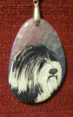 Tibetan Terrier hand painted on oval Agate pendant/bead/necklace