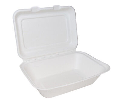 "125 White 7x5"" Paper Lunch Burger Box Container Biodegradable Bagasse Sugarcane"