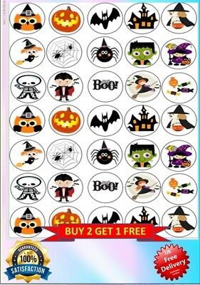 35 Halloween Cup Cake Edible Wafer Toppers Decorations PRE-CUT/ NON PRE-CUT