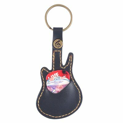 Key Ring Leather Paddles Package Case Holder For Guitar Picks With 5 LU