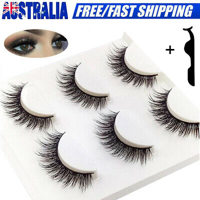 3D Mink Natural Cross Long Thick Fake False Eyelashes Eye Lashes Extension AU