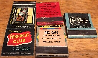 Vtg Matchbook Covers. Lot Of 4 Vallejo, California