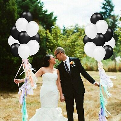"""12"""" Black and White Pure Balloons Lot Latex Foil Wedding Birthday Party Decor"""