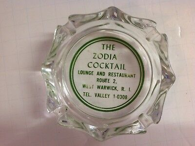 The Zodia Cocktail Lounge Vintage Glass Ashtray, West Warwick, R.I.