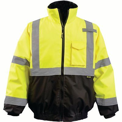 OccuNomix Class 3 Reflective Safety Bomber Jacket with Quilted Liner Yellow/Lime