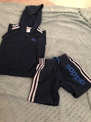Boys Adidas Shorts And Hoodie tracksuit set Age 3-4yrs