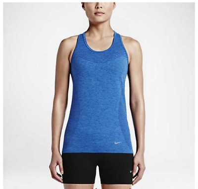 NWT Nike Womens Blue Knit Racerback Running Athletic Tank Top Size Small