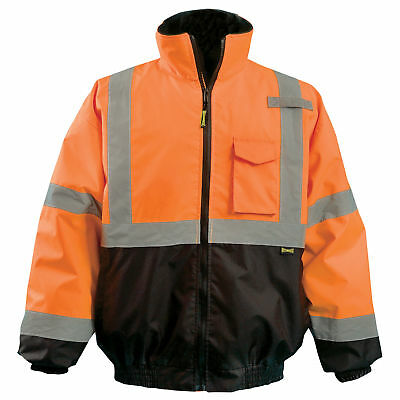 OccuNomix Class 3 Reflective Safety Bomber Jacket with Quilted Liner, Orange