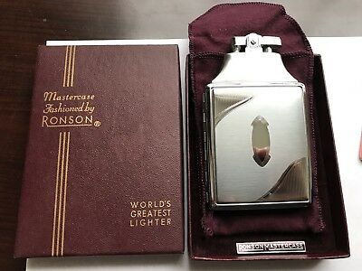 Mint In Box Ronson Mastercase Chrome Lighter And Case