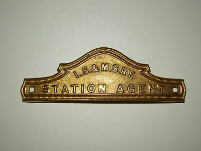 L S & M S Ry Station Agent Hat Badge