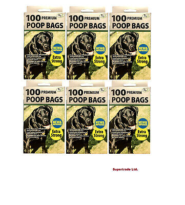 6 X 100 Fragranced Dog Poo Bags Scented Doggy Bags Strong Large Tie Handles