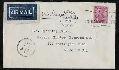 L648 India Bombay Air Mail Cover 1929 To London England Via Karachi
