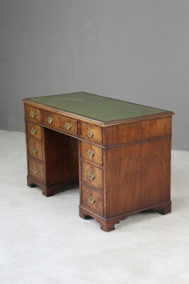 Antique Style Twin Pedestal Mahogany Desk