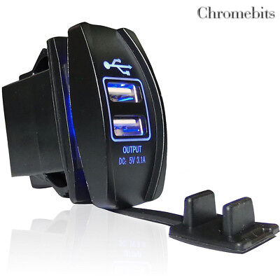 For Smart Forfour Fortwo Dual Usb Car Waterproof Charger Led Socket Outlet