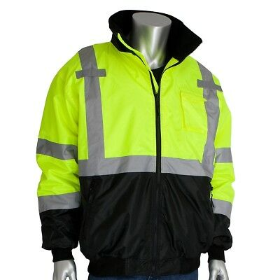 PIP Class 3 Reflective Safety Bomber Jacket with Black Bottom, Yellow/Lime