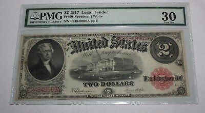 1917 2 Dollar  Legal Tender Note  Pmg30 Very Fine