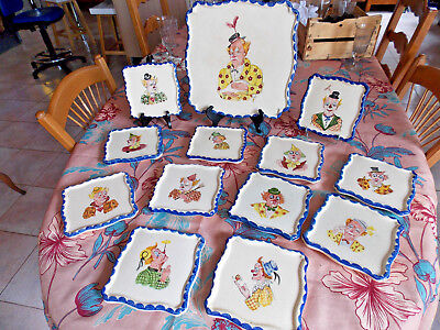 Ray Camart - Rare Service 13 Pieces Au Decor De Clowns