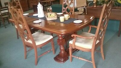 Vtg Double Pedestal Solid Wood Dining Table Rustic Old English European w Leaf