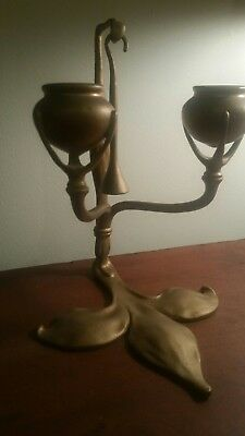 Tiffany studios bronze candlestick with snuffer