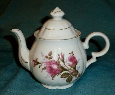 Vintage White China Tea Pot with Wild Rose
