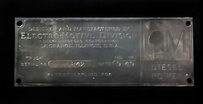 1949 General Motors Diesel Power Emd Electro-Motive Div. Truck Builder Plate