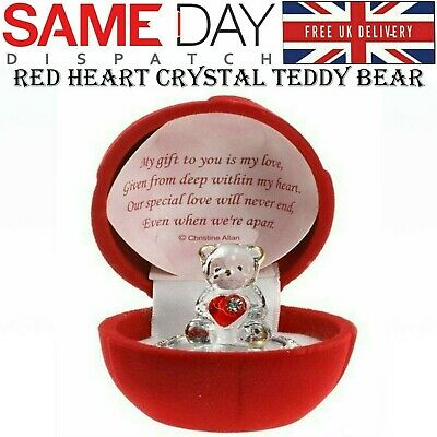 Red Love Heart Teddy Bear Rose Present Gift Boxed Glass Ornament