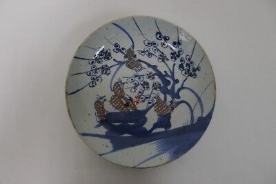 Antique Chinese Blue & White Porcelain Prunus/Sparrow Plate