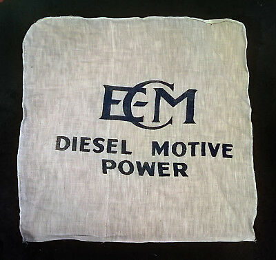 EMC Diesel Motive Power Burlap Flag Sign Rag Memorabilia Locomotive Train Sack