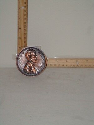 Dark, Burnished Copper Colored, Lincoln Monument Metal Penny Oversized