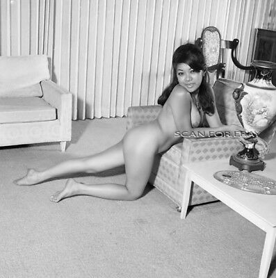 "Nancy Lee Nude 2.25"" Negative Busty Asian Model Vintage 1960's Pinup 1B.36 VOGEL"
