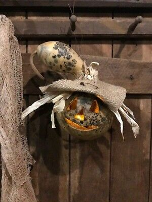 Primitive Gourd Scarecrow Lantern Homestead Peg Hanger Early Look Door Keep FALL