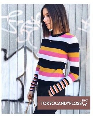 Zara⭐️ss18 Striped Ribbed Knit Top Multicoloured, Size M, Bnwt